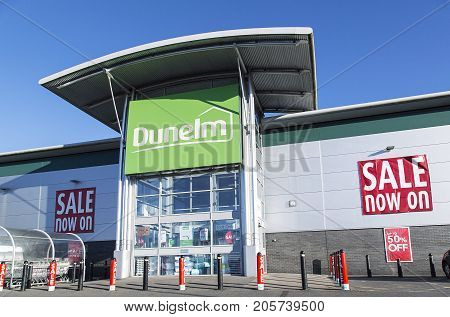 Swansea, UK: December 28, 2016: Dunelm are a major chain retailers of bedding, curtains and soft furnishings, plus kitchen equipement and homewares throughout the UK>