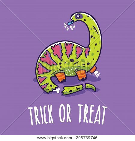Trick or treat card. Halloween poster with dinosaur in zombie costume. Vector illustration