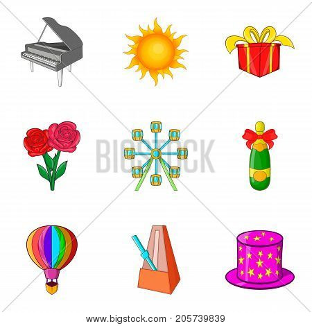 Theatrical evening icons set. Cartoon set of 9 theatrical evening vector icons for web isolated on white background