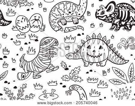 Happy Halloween dinosaurs seamless pattern. Set of characters, zombie, pumpkin, skeleton, mummy and ghosts in outline. Ink vector texture in childish style great for coloring book