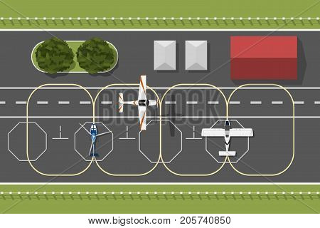 Training aerodrome of flying academy. The plane is flying over airport. Top view of aircraft. Scene from above. Vector illustration