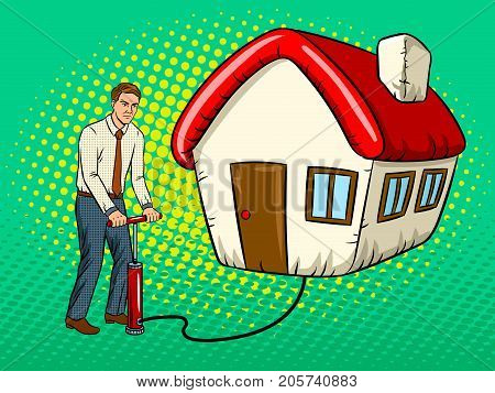 Man inflate house pop art retro vector illustration. Comic book style imitation.