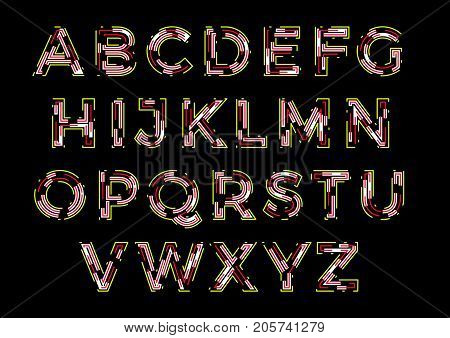 Concept of vector line art uppercase alphabet. Theme of electronics, labyrinth, luminous signage, microchip. poster