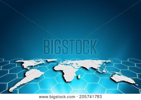 World map on a technology hexagon background glowing hexagon lines connected global network and global communication. Internet Concept of global business.