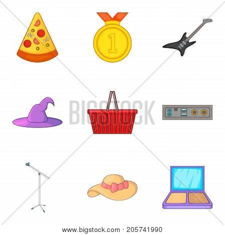Street concert icons set. Cartoon set of 9 street concert vector icons for web isolated on white background