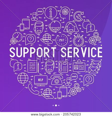Support service concept in circle with thin line call center or customer service icons. Vector illustration for banner, web page of support center.