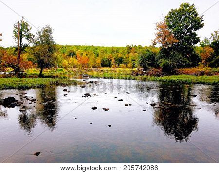 A wide rocky bend at the Haw River in North Carolina.