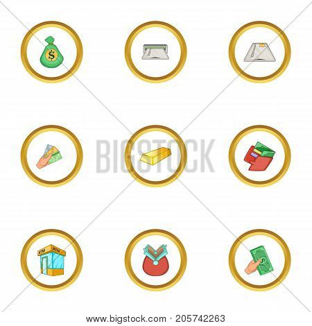 Banking icons set. Cartoon style set of 9 banking vector icons for web design