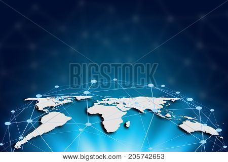 World map on a technology background glowing lines connected global network and global communication. Internet Concept of global business.