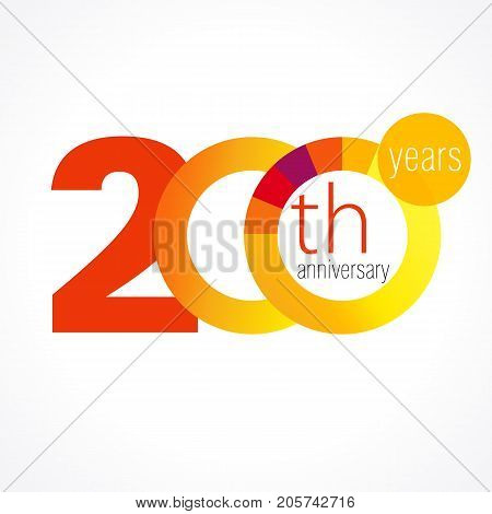 200 years anniversary chart logo. Template emblem 200th years anniversary with a circle in the form of a colored graph and the number 20