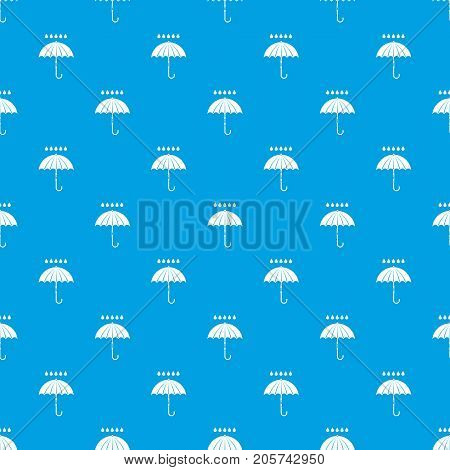 Umbrella and rain drops pattern repeat seamless in blue color for any design. Vector geometric illustration