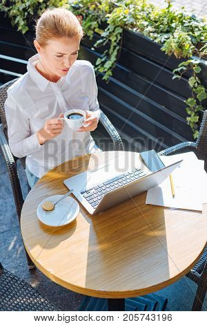 Relaxing break. Charming young businesswoman sitting in cafe, drinking coffee and reading a book from laptop, enjoying her break