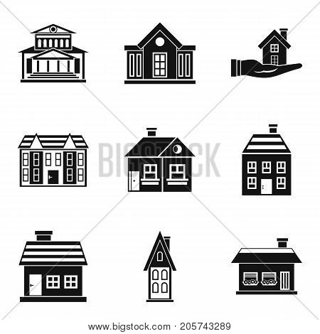 Residence icons set. Simple set of 9 residence vector icons for web isolated on white background