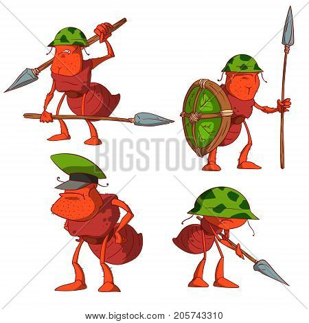 Collection of colorful vector cartoon ant soldiers