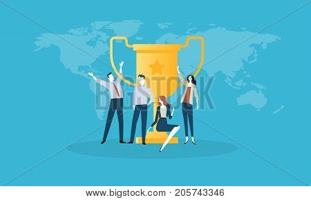 Success. Flat design business people concept. Vector illustration concept for web banner, business presentation, advertising material.