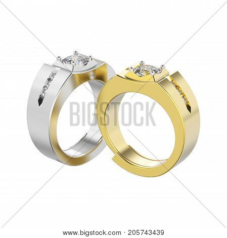 3D illustration isolated two yellow gold and silver men signet diamond rings on a white background