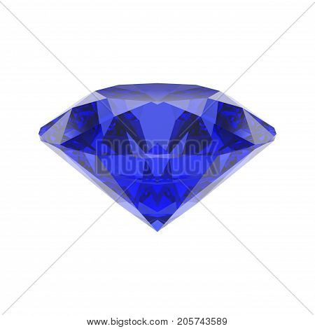 3D illustration isolated blue emerald round sapphire diamond gemstone on a white background