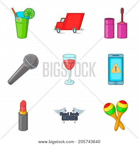 Preparing for the concert icons set. Cartoon set of 9 preparing for the concert vector icons for web isolated on white background