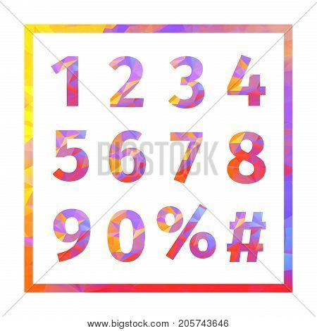 Red, blue, yellow, purple triangular numbers, percent sign and hash sign in a frame. Creative Design Templates