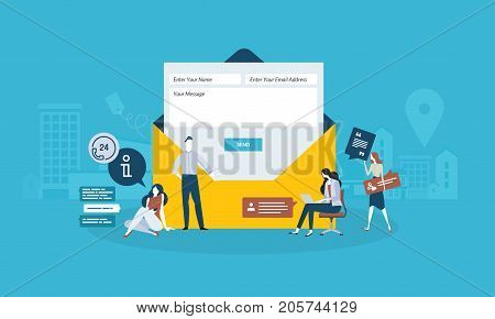 Contact us. Flat design business people concept. Vector illustration concept for web banner, business presentation, advertising material.