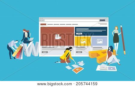 Web design and development. Flat design vector illustration concept for web banner, and marketing material.