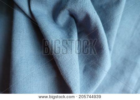 Draped Pastel Blue Simple Unprinted Linen Fabric