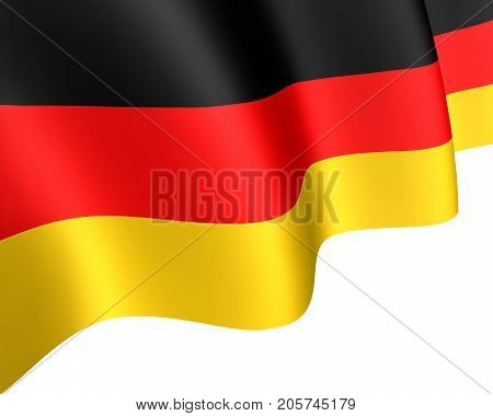 National flag of Germany waving in the wind. German State Symbol closeup