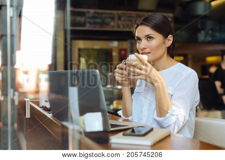 Enjoying cozy ambience. Beautiful young woman sitting at the counter in a cafe in front of a laptop and drinking latte