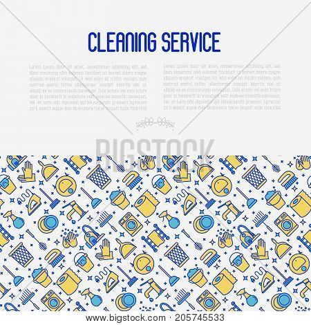 Cleaning service concept with thin line icons: iron, washer, robot vacuum cleaner, brushes and other accessories for household. Vector illustration for banner, web page, print media.