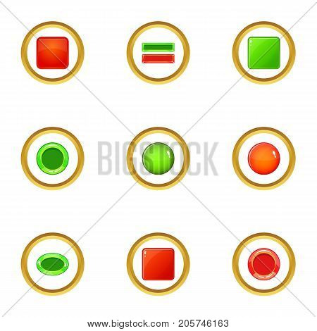Button icons set. cartoon style set of 9 button vector icons for web design