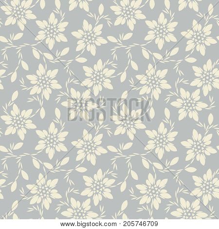 Beautiful seamless pattern with ivory flowers and leaves. Stylish template can be used for covers, design fabric ,textile, greeting cards and more creative designs.