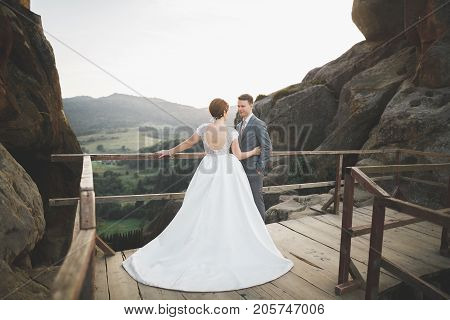 Kissing wedding couple staying over beautiful landscape.