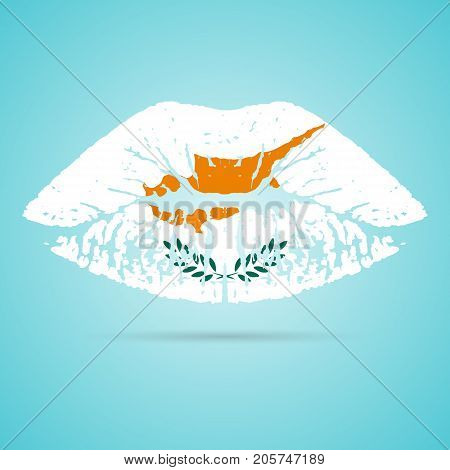 Cyprus Flag Lipstick On The Lips Isolated On A White Background. Vector Illustration. Kiss Mark In Official Colors And Proportions. Independence Day
