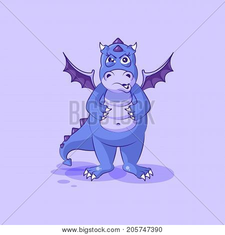 Vector Stock Illustration isolated Emoji character cartoon dragon dinosaur sticker emoticon with angry emotion for site, info graphics, video, animation, websites, mail, newsletters, reports, comics