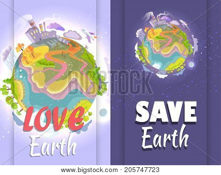 Poster urging people to stop destroying planet. Vector illustration of Earth depicting human impact on environment and its consequences
