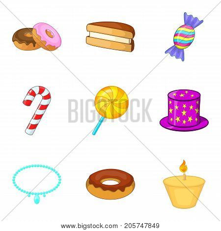 Food at the celebration icons set. Cartoon set of 9 food at the celebration vector icons for web isolated on white background