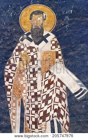 ISTANBUL TURKEY - OCTOBER 31, 2015: Bishop figure on the apse wall in the Church of the Holy Saviour in Chora (Kariye Camii) in Istanbul, Turkey