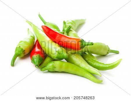 fresh hot chili peppers isolated on white background