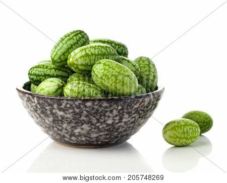 Melothria scabra Mexican sour gherkin isolated on white background