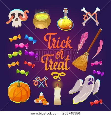 Halloween witches set with funny and scary objects. Vector illustration of eyes, pot with potion, toadstool, candy, chicken feet, hat in cartoon style.