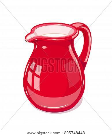 Red Ceramic jug with milk. Fictile tableware. Capacity for drink. Isolated white background. Vector illustration.