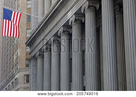 New York City, Usa, September 12, 2017 : Wall Street In The Financial District Of Lower Manhattan.ov