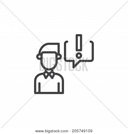 Businessman and exclamation mark in speech bubble line icon, outline vector sign, linear style pictogram isolated on white. Symbol, logo illustration. Editable stroke