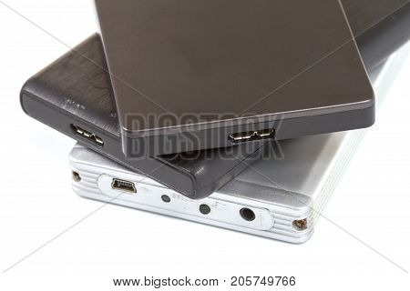 External hard drive with usb cable on white