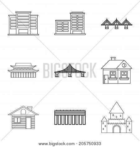 Concrete building icons set. Outline set of 9 concrete building vector icons for web isolated on white background