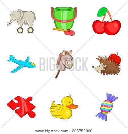 Funny toy icons set. Cartoon set of 9 funny toy vector icons for web isolated on white background