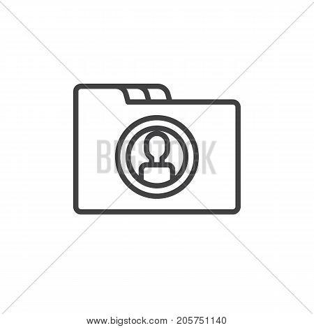 Folder line icon, outline vector sign, linear style pictogram isolated on white. dossier symbol, logo illustration. Editable stroke