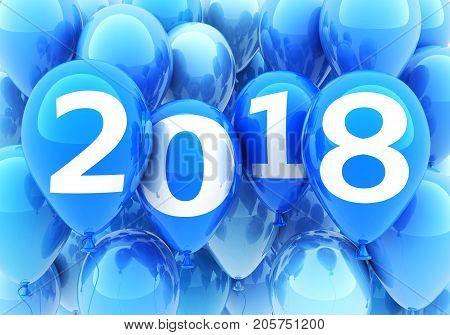 Sign new year 2018 on blue balloon. 3d illustration