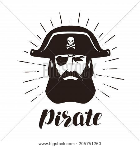 Pirate logo or label. Portrait of bearded one-eyed filibuster in hat. Vector illustration isolated on white background poster