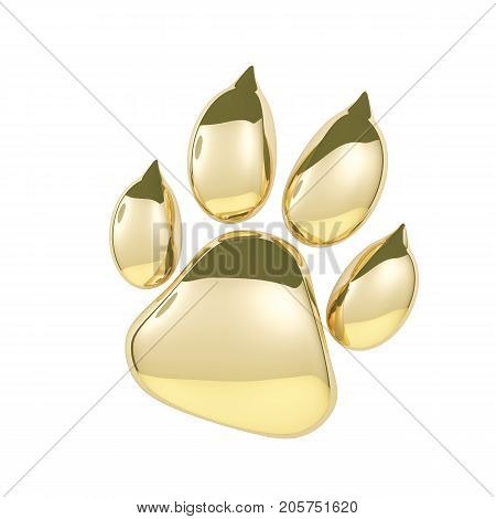 Golden paw print icon isolated on white background. Dog paw footprint 3d rendering